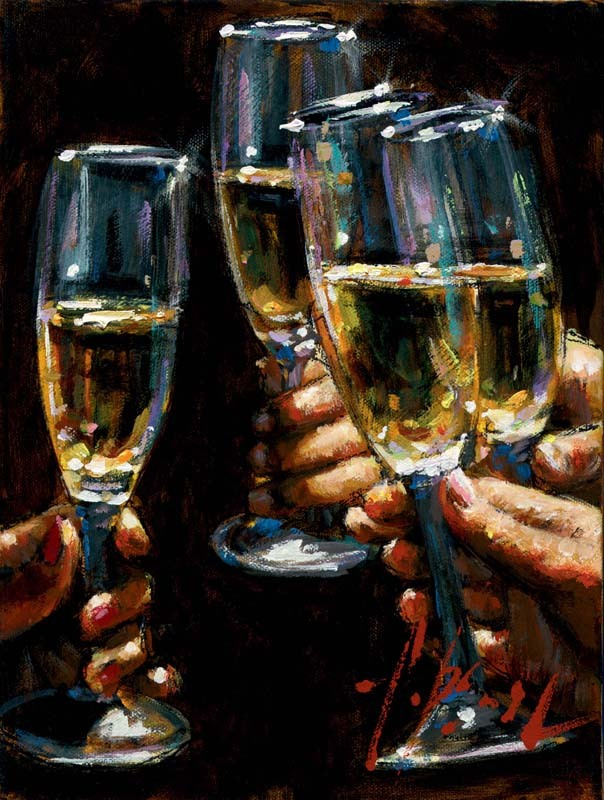 Fabian Perez Fabian Perez Limited Edition Giclee on Canvas Brindis con Champagne