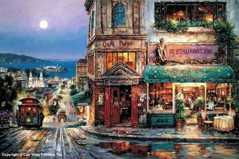 Cao Yong Cao Yong Limited Edition Giclee on Canvas Cafe Prego
