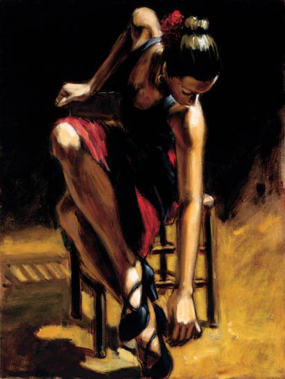 Fabian Perez Fabian Perez Limited Edition Giclee on Canvas Dancer In Red Skirt