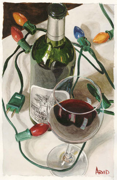 Wine Art Thomas Arvid Limited Edition Giclee on Paper Holiday Cheer (SN)