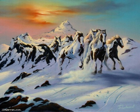 Jim Warren Fine Art Jim Warren Limited Edition Giclee on Canvas Horses in The Snow