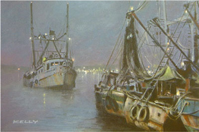Fine Artwork On Sale John Kelly Limited Edition Giclee on Canvas Late Night in the Harbor