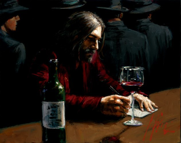 Fabian Perez Fabian Perez Limited Edition Giclee on Canvas Man at the Bar IX
