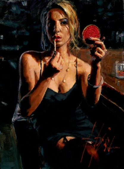 Fabian Perez Fabian Perez Limited Edition Giclee on Canvas Monika With Mirror