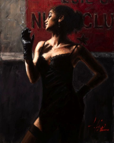 Fabian Perez Fabian Perez Limited Edition Giclee on Canvas Sensual Touch in the Dark II