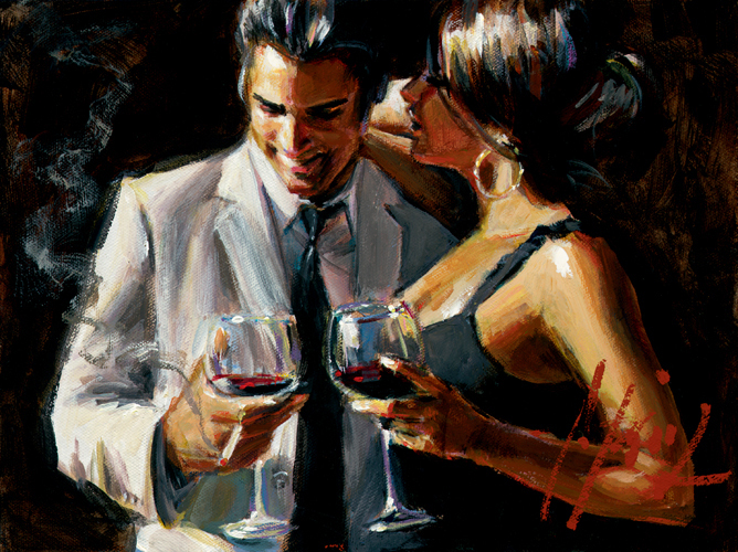 Perez Prints Fabian Perez Limited Edition Giclee on Canvas The Proposal VIII