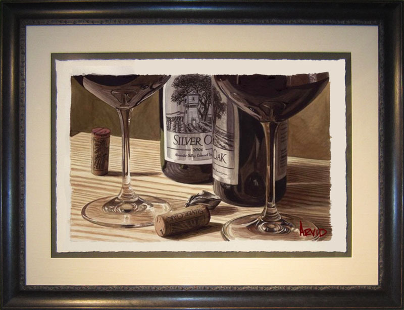 Wine Art Thomas Arvid Limited Edition Giclee on Paper Two Much Fun