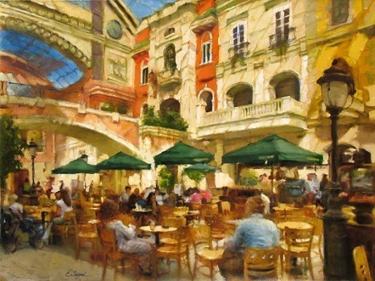 Eugene Segal Eugene Segal Limited Edition Giclee on Canvas Cafe in the Plaza