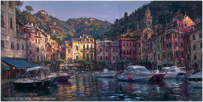 Cao Yong Cao Yong Limited Edition Giclee on Canvas Dawn in Portofino (24 x 48)