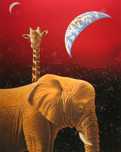 Fine Artwork On Sale Schim Schimmel Limited Edition Giclee on Paper My Home Too - Elephant