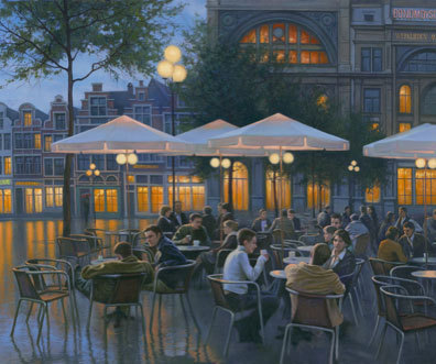 Alexei Butirskiy Alexei Butirskiy Limited Edition Giclee on Canvas Evening Cafe