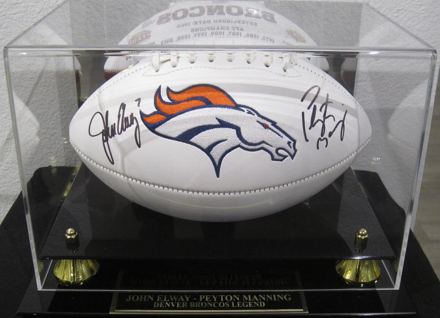 Sports Memorabilia fine art. Signed Football by Peyton Manning and John  Elway 6cf10da0c