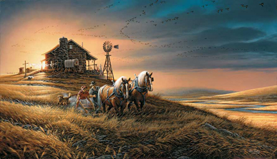Terry Redlin Terry Redlin Limited Edition Print on Paper For Amber Waves of Grain
