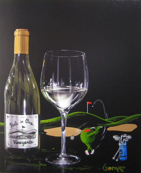 Godard Martini Art Michael Godard Mixed Media on Canvas Hole-in-One Vineyards (Mixed Media Unique)