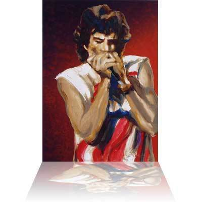 Ronnie Wood Ronnie Wood Limited Edition Print Mick with Harmonica I (Ruby)