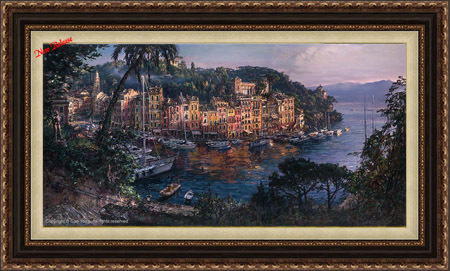Cao Yong Cao Yong Limited Edition Giclee on Canvas Morning in Portofino (24 x 48)