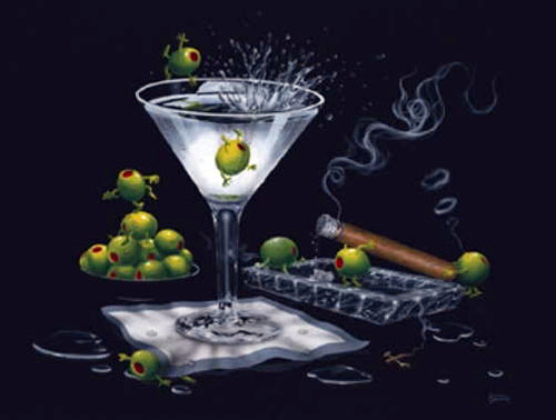 Godard Martini Art Michael Godard Limited Edition Giclee on Canvas Olive Party II - It's On! (28 x 37.5)