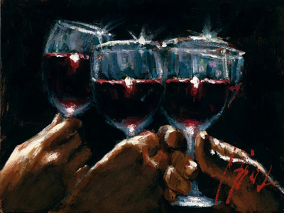 Fabian Perez Fabian Perez Limited Edition Giclee on Canvas Red Wine