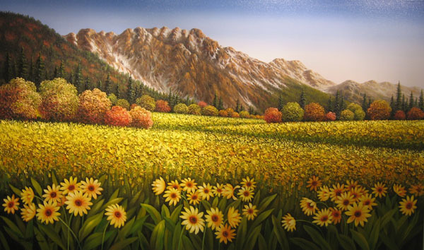 Mario Mario Original Painting Rocky Mountain Meadow
