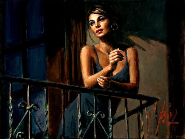 Fabian Perez Fabian Perez Limited Edition Giclee on Canvas Saba at the Balcony VII