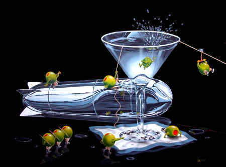 Godard Martini Art Michael Godard Limited Edition Giclee on Canvas Martini Training (18 x 22.5)