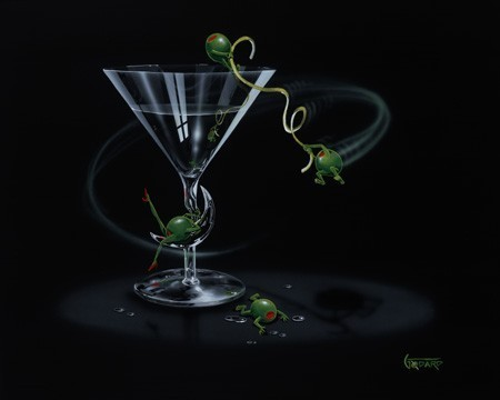 Godard Martini Art Michael Godard Limited Edition Giclee on Canvas Swinging Martini (17.5 x 22)