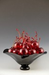 Donald Carlson Donald Carlson Black Footed Bowl with 20 CLEAR Cherries