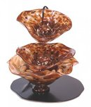 Tranquility Glass Fountains Tranquility Glass Fountains 3 Bowl Earth Toned Fountain