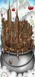 Charles Fazzino Art Charles Fazzino Art A Melting Pot of Chocolate... NYC (DX) - Framed