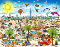 Charles Fazzino Art Charles Fazzino Art A View From The Dubai Desert (DX)