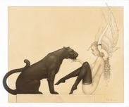 Michael Parkes Art Michael Parkes Art Black Panther White Wings