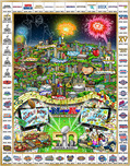 Charles Fazzino Charles Fazzino Celebrating 50 Years of Super Bowl (ALU) (Framed)