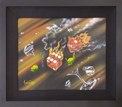 Michael Godard Michael Godard Flaming Craps (Mixed Media Unique) Framed