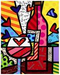 Romero Britto Art Romero Britto Art Food & Wine (Framed)