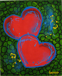 Godard Martini Art Godard Martini Art Hearts of Hope Green (Original Painting)