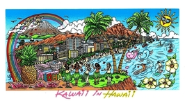 Charles Fazzino Art Charles Fazzino Art Kawaii in Hawaii (DX) - Framed