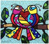 Romero Britto Art Romero Britto Art Love Birds (Blue)