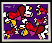Romero Britto Art Romero Britto Art Love is in the Air Too (Purple Background) (SN)