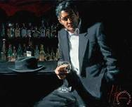 Fabian Perez Fabian Perez Man in Black Suit and Red Wine