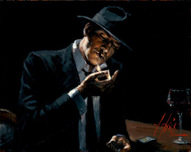 Fabian Perez Fabian Perez Man Lighting Cigarette