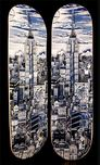 Charles Fazzino Art Charles Fazzino Art Manhattan Blue Skateboard Deck (Sculpture)