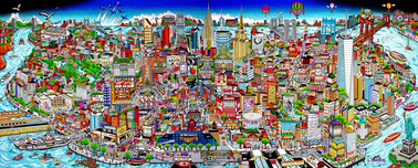 Charles Fazzino Art Charles Fazzino Art Manhattan Mural ... An Island Of Hopes & Dreams (PR) (Black)
