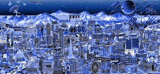 Charles Fazzino Art Charles Fazzino Art Midnight in Vegas (AP) (Blue)
