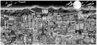 Charles Fazzino Art Charles Fazzino Art Midnight in Vegas (PR) (Black and White)