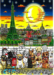 Charles Fazzino Charles Fazzino Paws in Paris (DX) - Framed