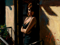 Fabian Perez Fabian Perez Saba at the Balcony with Black Dress