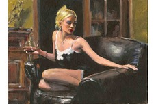 Fabian Perez Fabian Perez Salli On The Couch II (Yellow Wall)