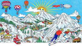 Charles Fazzino Art Charles Fazzino Art Ski Vacation (DX) - Framed