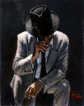 Fabian Perez Fabian Perez Smoking Under the Light with White Suit