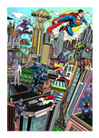 Charles Fazzino Art Charles Fazzino Art Superhero Series: Superman Saves the Day (DX) - Framed